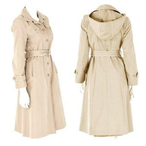 VINTAGE J. Gallery Khaki Hooded Belted Trench
